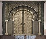 ABAKUHAUS marroquí Cortinas, Puerta de Edad geométrica, Sala de Estar Dormitorio Cortinas Ventana Set de Dos Paños, 280 x 225 cm, Sepia Negro
