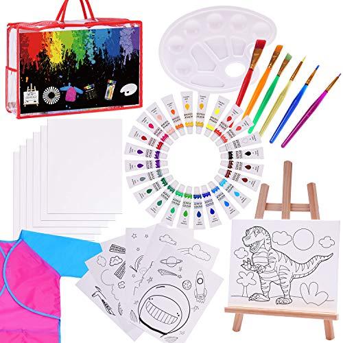 Paint Set for Kids,47 Piece Kids Art Set Paint Easel Includes 24 Non Toxic Paints,Table Top Easel,Art Smock,6 Paint Brushes,12 Pcs 8x10 Canvas,Paint Palette,Art Set for Kids (Travel Bag Included)