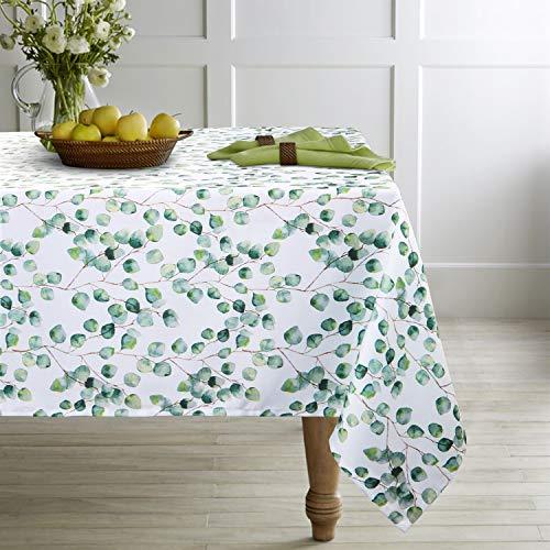 Lahome Mantel de hojas de eucalipto, resistente al agua, de poliéster, lavable, con hojas verdes, para primavera, verano, fiesta de...