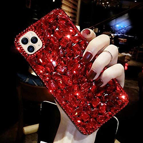kompatibel mit iPhone 11 Pro Max Hülle,Glänzend Glitzer Bling Strass Handyhülle TPU Silikon Hülle Schutzhülle 3D Handschlaufe Diamant Stoßfest Bumper Case Tasche für iPhone 11 Pro Max,Rot
