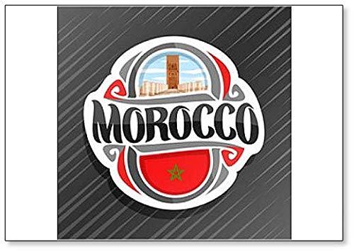 Marokko, Hassan-Turm in Rabat mit marokkanischer Flagge
