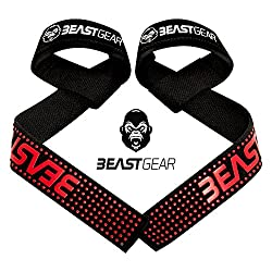 Beast Gear professional pulling aids for fitness & bodybuilding - professional, padded lifting straps with grip aid