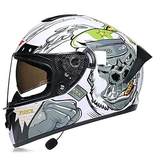 Casco De Moto Modular Bluetooth Integrado, Cascos de Motocicleta Dot/ECE Homologado a Prueba de Viento para Adultos Hombres Mujeres con Doble Visera Anti Niebla A,XL=61~62CM