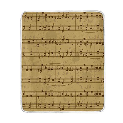 jeansame Überwurfdecke Samt Mikrofaser für Sofa Bett Nickerchen Kinder Erwachsene Frauen Männer Jungen Mädchen 127 x 152 cm Vintage Musik Score