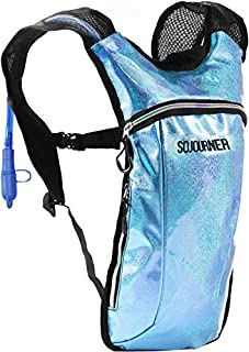 Sojourner Hydration Pack Backpack - 2L Water Bladder Included for Festivals, Raves, Hiking, Biking, Climbing, Running and More (Glitter - Light Blue)