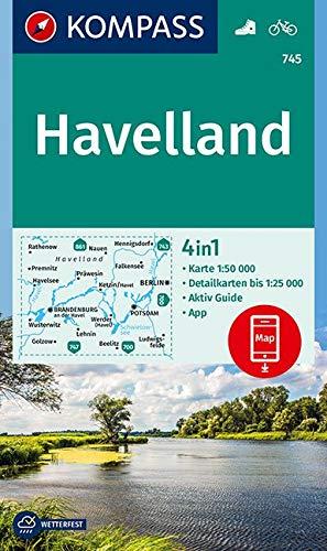 KOMPASS Wanderkarte Havelland: 4in1 Wanderkarte 1:50000 mit Aktiv Guide und Detailkarten inklusive Karte zur offline Verwendung in der KOMPASS-App. Fahrradfahren. (KOMPASS-Wanderkarten, Band 745)