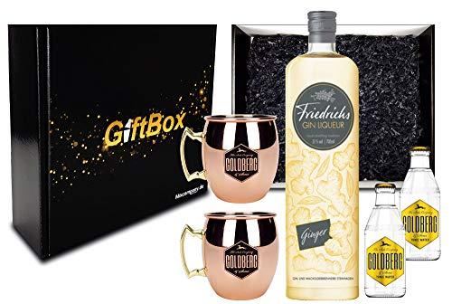 Gin Tonic Giftbox Geschenkset - Friedrichs Gin Liqueur Ginger 0,7l 700ml (31% Vol) + 2x Mule Becher + 2x Goldberg Tonic Water 0,2l MEHRWEG inkl. Pfand Gin Tonic Bar- [Enthält Sulfite]