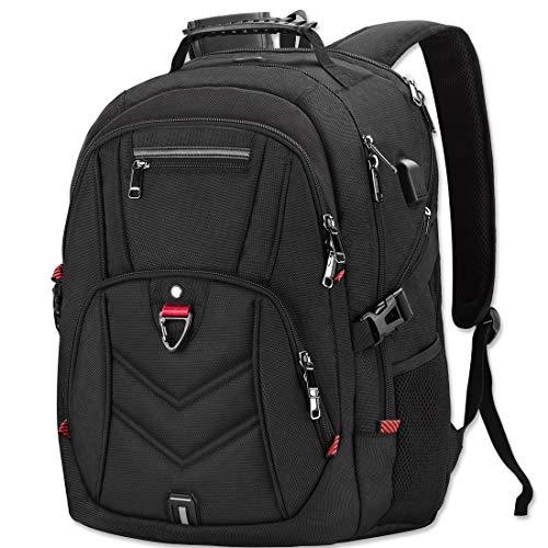Zaino Porta PC Zaini Lavoro Uomo Notebook Laptop Borsa 17 17,3 Pollici Impermeabile con USB Zainetto da Viaggio Scuola Affari Grande Nero
