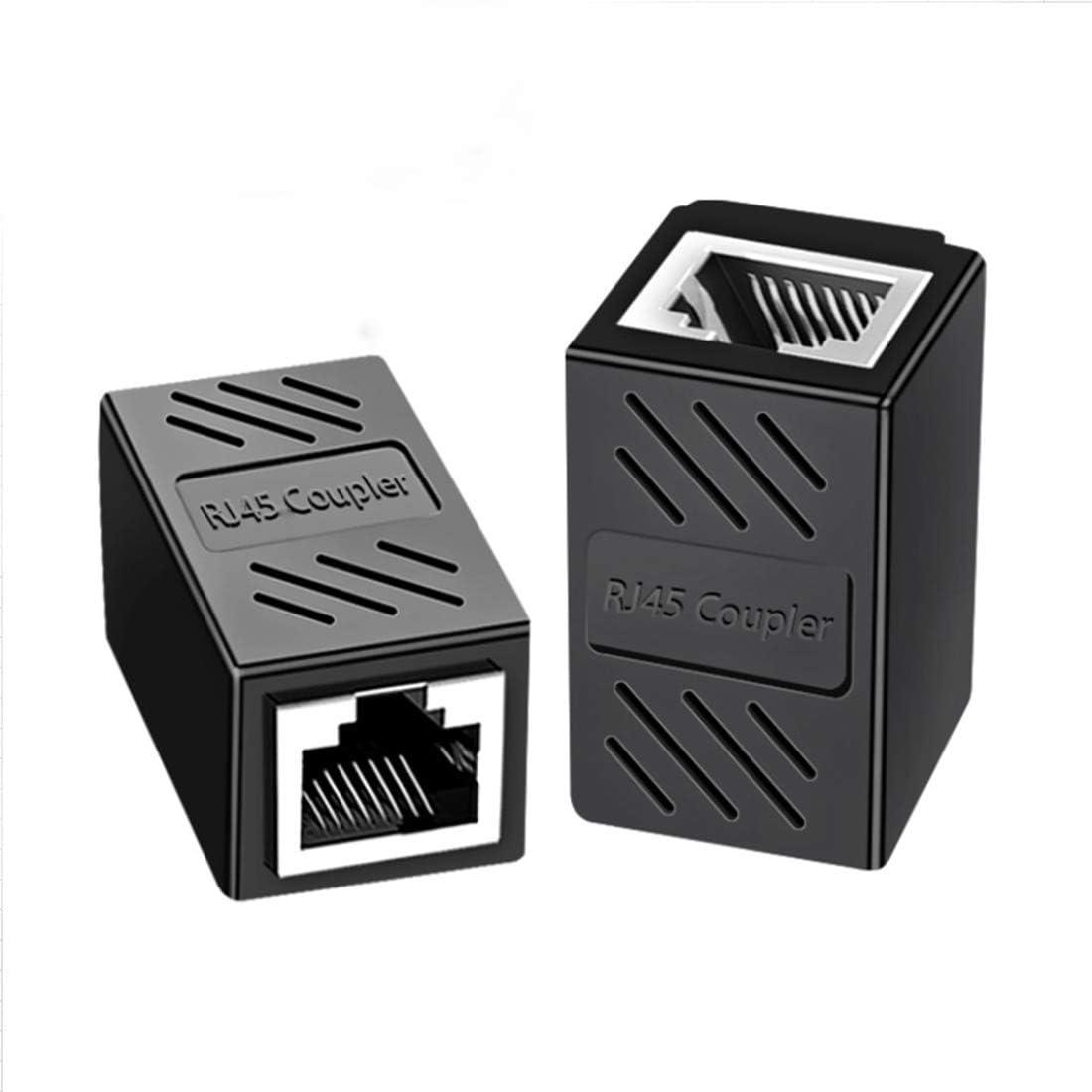 2 piezas Conector RJ45, Acoplador RJ45 para Gigabit Ethernet 1000Mbps Cable de Red Cat 7 Cat 6 Cat 5 (Negro)