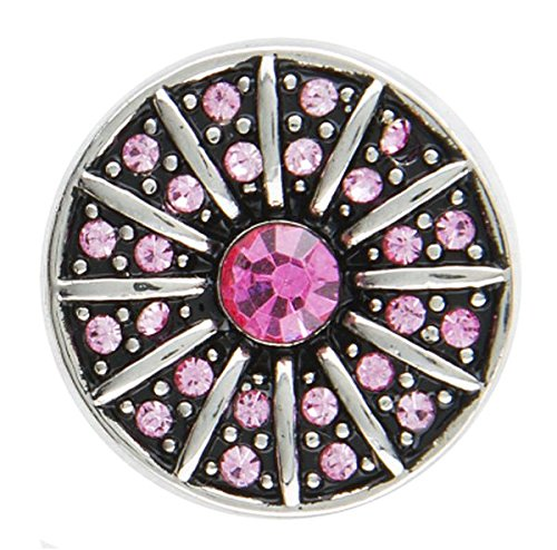 Ganz Jewel La La Snap Charm for Jewelry, Pink Diamond Radial (ER33860)