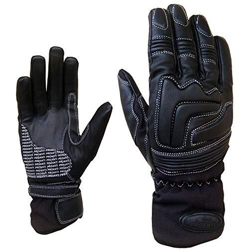 PROANTI Damen Regen Leder Motorradhandschuhe Leder Motorrad Handschuhe Größe M