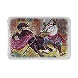 Kinhevao Japanische rutschfeste Fußmatte, tapferer Samurai mit Seiner Lanze im Kampf gegen den schwarzen Dämonenwolf Wild Battle Theme Bodenmatte für Badezimmer Wohnzimmer