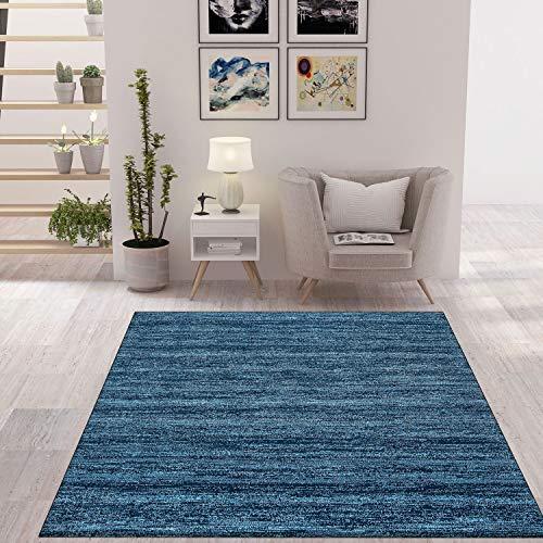 VIMODA Wohnzimmer Teppich Modern Dunkel Blau Kurzflor Meliert Farbecht und sehr Pflegeleicht, Maße:120 x 170 cm