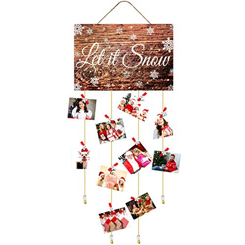 Christmas Card Holder Wooden Let It Snow Wall Hanging Picture Holders with 35 Snowflake Wooden Photo Clips Picture Frame Collage Decoration for Hanging Christmas Cards Photo Paper Crafts