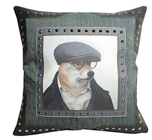 Cooles Lederimitat und Jeansoptik Kissen SHERLOCK HOLMES Hund 45 x 45 cm grau