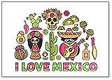 Viaja a México. Imán para nevera con ilustración de dibujos animados