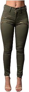 Women Pants Fit Zipper Pencil Solid High Waist Trousers Pants