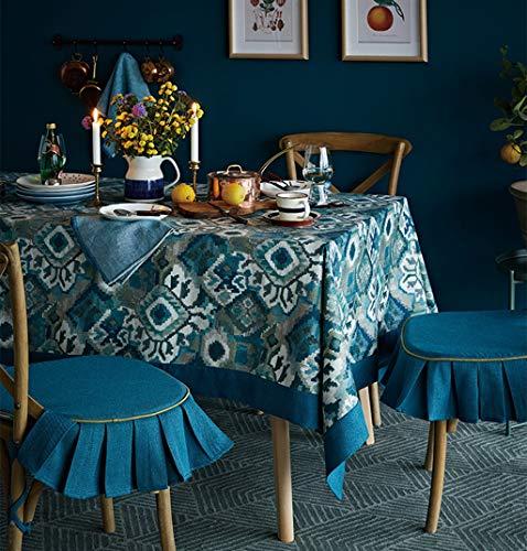 Nappe rectangle de style européen, Style ethnique Vintage, nappe de table en tissu, plusieurs tailles (taille : 130 * 130cm)