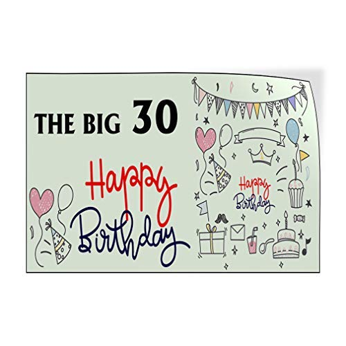 Jeartyca Calcomanías de vinilo para puerta con texto en inglés 'The Big 30 Happy Birthday!', color rojo