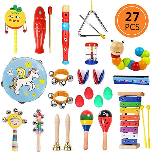 Yetech 27 Piezas Juguetes Musicales Instrumentos Musicales Música Juguete Instrumento Educativo Bebés Regalos para los Niños
