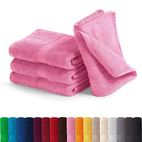 EllaTex Handtuch-Set aus Serie Paris 0040073 100% Baumwolle 500 Gramm/m², Farbe:Rosa, Größe:4er Packung 50 x 100cm - Handtücher