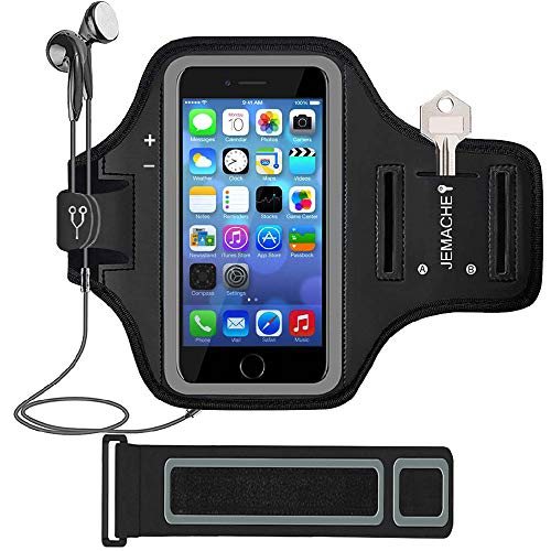 """iPhone SE (2016) 5S 5 Armband, JEMACHE Gym Running Exercise Workout Sport Arm Band Case for iPhone 5 5S SE (4.0"""") with Card Holder (Black)"""