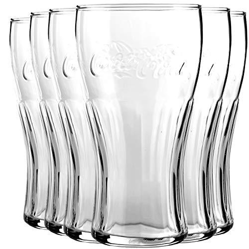 My-goodbuy24 6er Set Coca Cola Gläser Trinkbecher aus Glas Trinkglas Trinkgläser Saftgläser Wasserglas 300ml