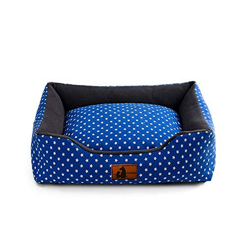 LIAOER Pet Bed, Sleeping Bed for Cats Dogs, Comfortable Soft Cat/Dog Mattress, Removable Washable Square Pet Bed Pad, Moisture-Proof Breathable-Blue star point_S