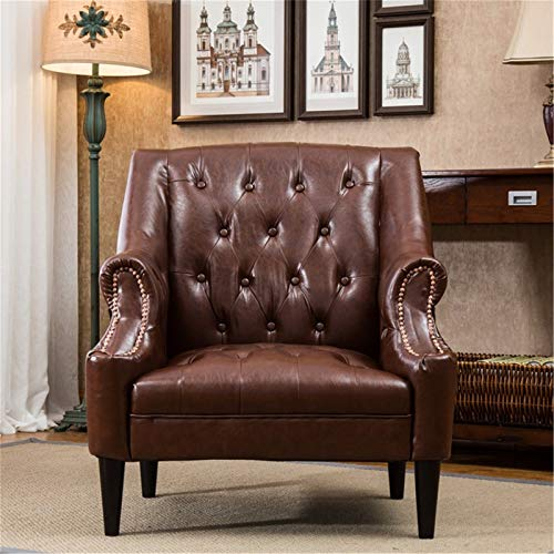HKJZ Volver Alta Silla de Cuero Silla Decorativa for Sala de Estar Dormitorio de Oficina ala Volver sofá de Cuero Silla (Color : Brown, Size : Medium)