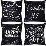 Neusky 4er Set Dekorativ Kissenbezug Kissenhülle Halloween Muster 45 x 45cm Sofa Büro Dekor...
