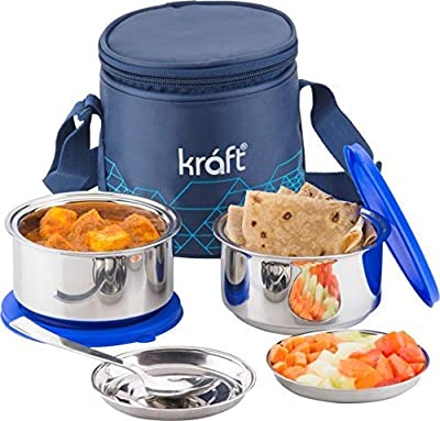 Kraft GO Delight Stainless Steel Insulated Lunch Box Set of 2 with Free Lid and Spoon