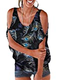Miselon Women's Feather Floral Print Shirts Loosing Cold Shoulder Batwing Sleeve Top Blouses(XX-Large, Z-Black Feather)