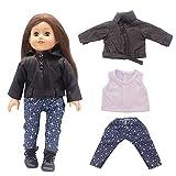 Uteruik Puppenkleidung für 46 cm American Girl Puppe Outfits – Lederjacke, T-Shirts und Hosen,...