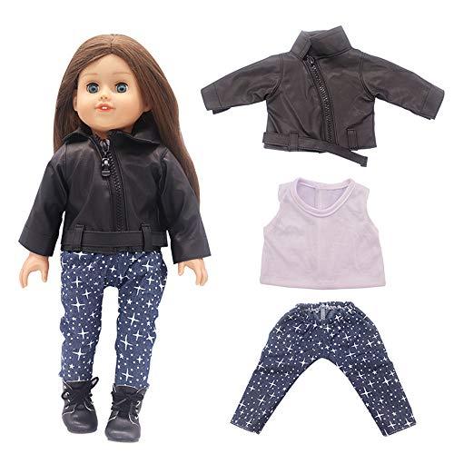 Uteruik Puppenkleidung für 46 cm American Girl Puppe Outfits – Lederjacke, T-Shirts und Hosen, Kostüm-Zubehör, 3-teiliges Set