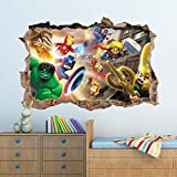BAOWANG Wandtattoo 3D Marvel Avengers Loch In Wandaufkleber Kunst Aufkleber Dekor Kinder Schlafzimmer Dekoration 90cm x 60cm