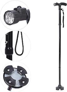 4色ハンドル折りたたみ杖ポータブル抗ショックテレスコピックウォーキングハイキングクライミングスティック(Black With LED Light)