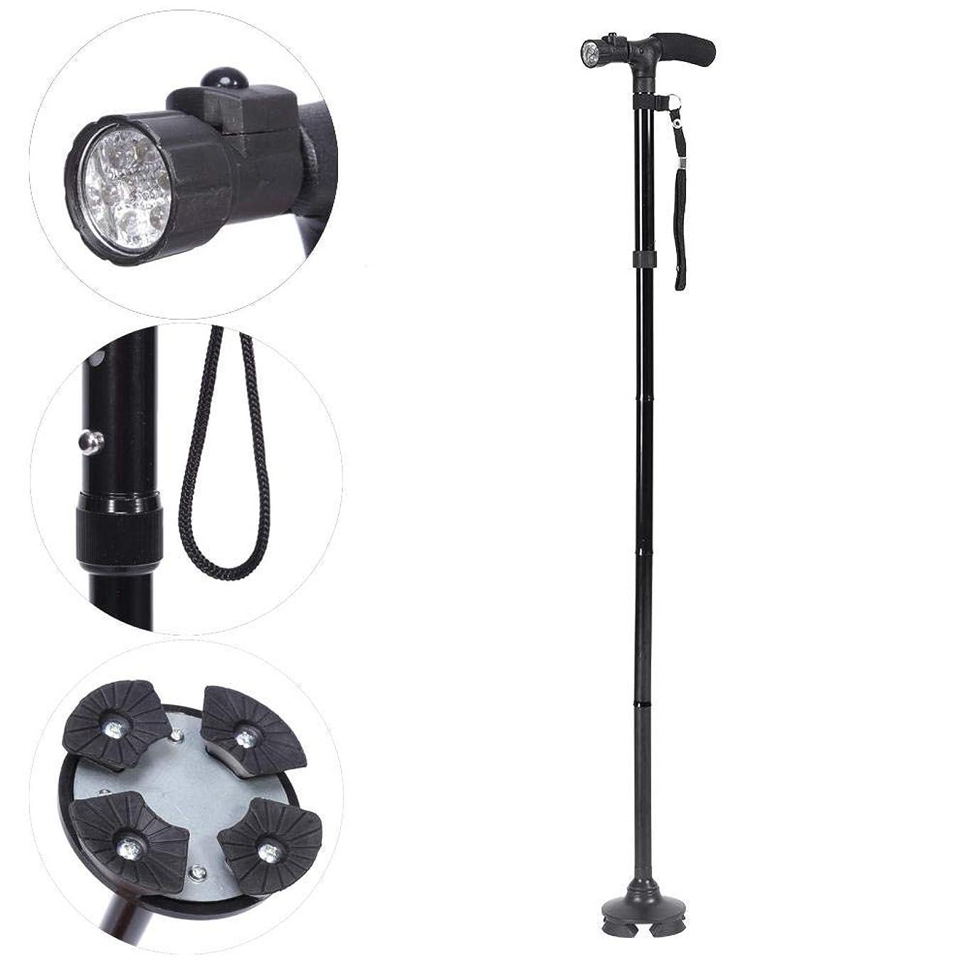 セミナーありがたいライバル4色ハンドル折りたたみ杖ポータブル抗ショックテレスコピックウォーキングハイキングクライミングスティック(Black With LED Light)