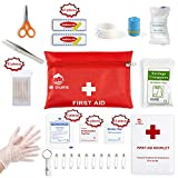 Small Travel First Aid Kit - 87 Piece Clean, Treat and Protect Most Injuries,Ready for Emergency at Home, Outdoors, Car, Camping, Workplace, Hiking.
