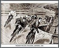 ポスター アーティスト不明 Women Track Cyclists 1898 額装品 アルミ製ベーシックフレーム(ブラック)