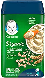 Gerber Baby Cereal Gerber Organic Oatmeal Millet Quinoa Cereal, 8 Ounces (Pack of 6)