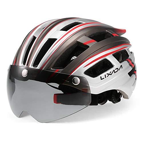 Lixada - Casco da Ciclismo per Mountain Bike, con Luce Posteriore Helmel, con Occhiali Staccabili, per Uomo e Donna