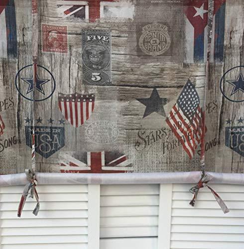 LillaBelle Raff Gardine USA Stars Rollo 120x100 cm Sterne Scheibengardine Baumwolle