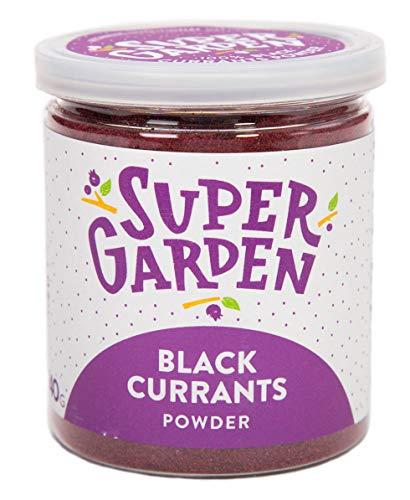 Supergarden grosella negra en polvo - Producto 100% puro y natural - Apto para veganos - Sin azúcares, aditivos artificiales ni conservantes añadidos - Sin gluten - No OMG