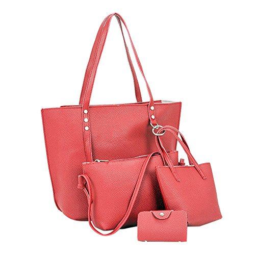 DoraMe Femminile Grande Capacità Borsa a Mano Moda Portafoglio Set di 6 Pezzi Borse Borsa a Tracolla Colore Puro (borsa tote pelle pregiata donna, Rosso)