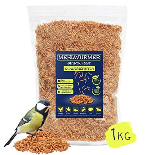 EWL Naturprodukte Mehlwürmer getrocknet 1kg, der ideale Premium Insektensnack für Vögel, Fische, Nager und Reptilien
