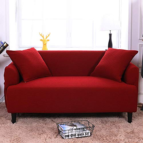 HXTSWGS Housse de Canapé d'angle Extensible,Elastic Sofa Cover, Living Room Sofa Cover, Elastic Furniture Cover-Wine Red_190-230cm