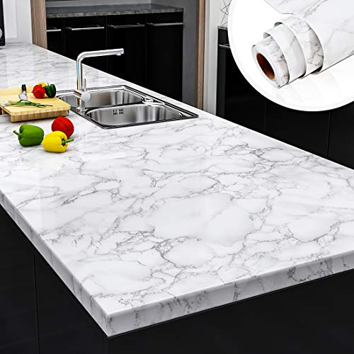 """Yenhome Faux Marble Peel and Stick Countertops 24"""" x 118"""" White Gray Marble Counter Top Covers Peel and Stick Wallpaper for Kitchen Backsplash Peel and Stick Self Adhesive Removable Wallpaper"""