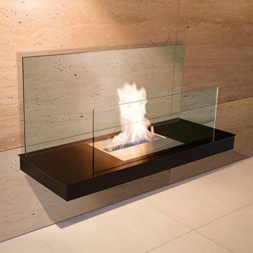 Wall Flame 2 schwarz Glas klar Ethanolkamin - 541 a