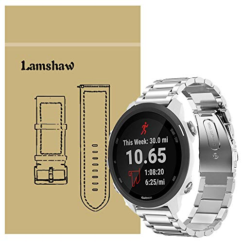 Lowest Prices! for Garmin Forerunner 245 Band, Lamshaw Stainless Steel Metal Replacement Straps for ...