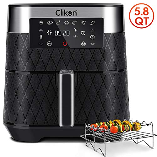 Air Fryer, Clikon 5.8 Quart Digital Touch Screen Air Fryer Oven Cooker with Temperature Control 180-400°F Auto Shut off Air Fryers XL Family Size
